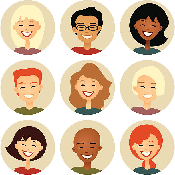 diversity: nine smiling faces in cirles: retro style - head and shoulders stock illustrations, clip art, cartoons, & icons