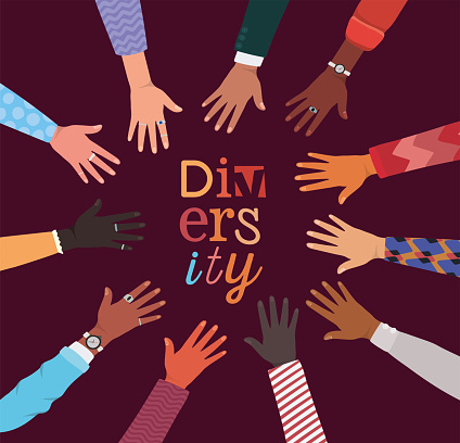 diversity of hands up in circle shaped vector design