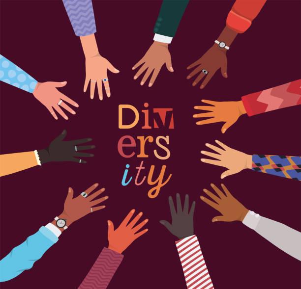 ilustraciones, imágenes clip art, dibujos animados e iconos de stock de diversidad de manos en el diseño vectorial en forma de círculo - social media