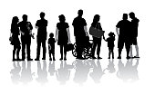 A vector silhouette illustration of a group of people in a line including men, women, children, and adults with one person in a wheelchair.