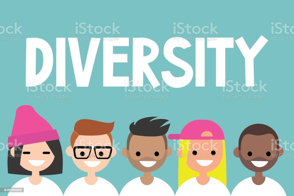 Diversity sign. A group of multinational people vector art illustration