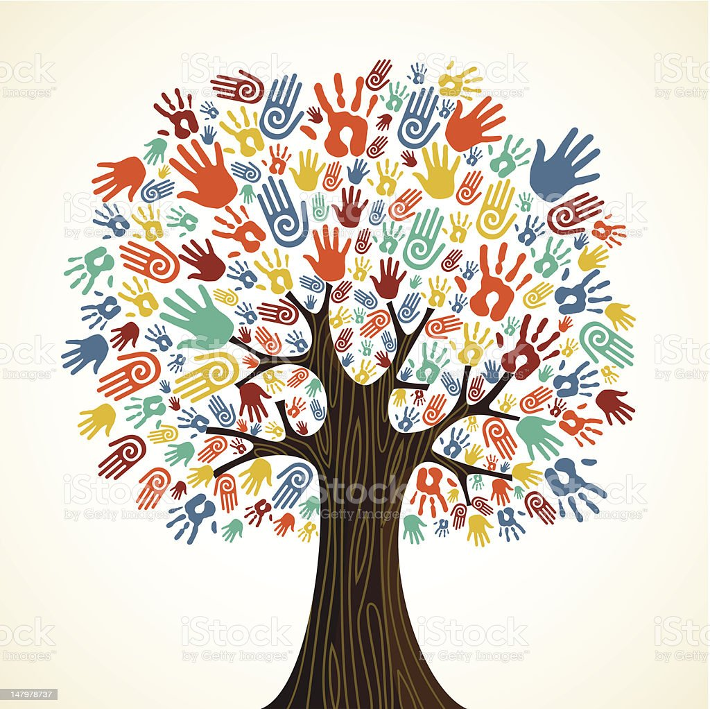 Diversity tree hands illustration royalty-free diversity tree hands illustration stock vector art & more images of art