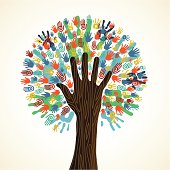 Diversity tree hands illustration background with human wooden hand trunk. Vector illustration layered for easy manipulation and custom coloring.