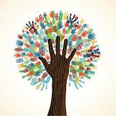 Diversity tree hands illustration