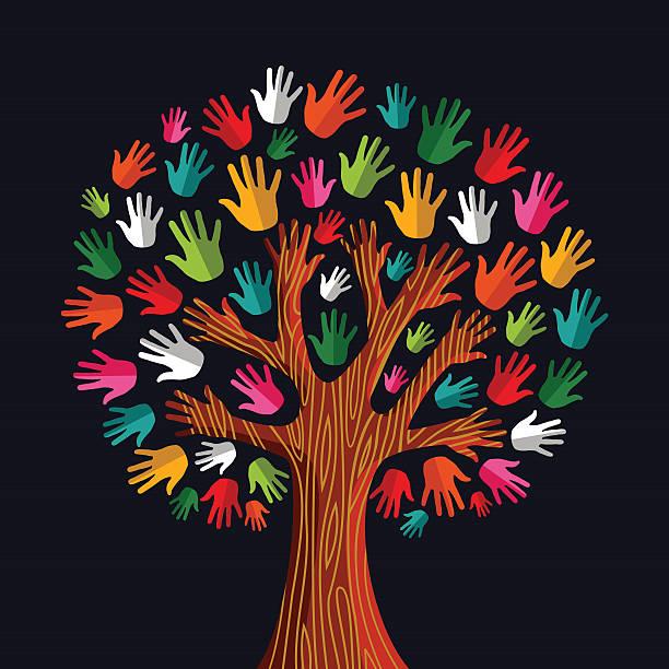 Diversity tree hands illustration vector art illustration