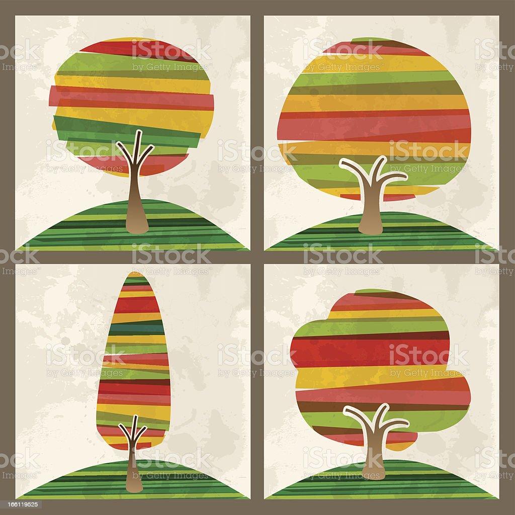 Diversity tree set royalty-free stock vector art