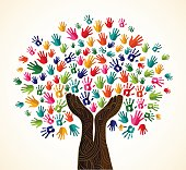 Diversity tree wooden hands