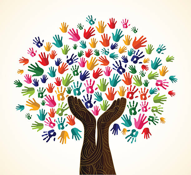 Diversity tree wooden hands Multicolor tree hands illustration background with human wooden open hands trunk. Vector illustration layered for easy manipulation and custom coloring. community backgrounds stock illustrations
