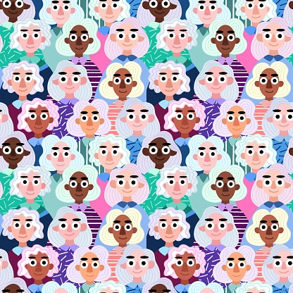 Diversity women with natural silver hair seamless pattern vector