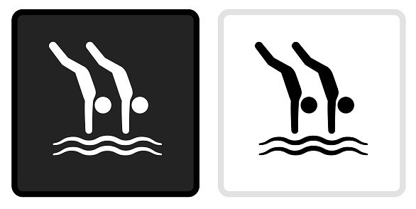 Dives Icon on  Black Button with White Rollover