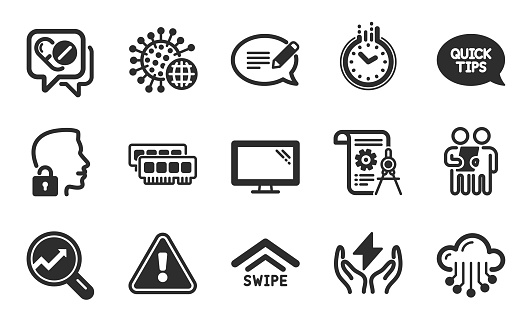 Divider document, Swipe up and Coronavirus icons set. Ram, Quickstart guide and Message signs. Vector
