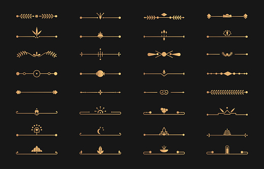 Divider golden line set art deco vector page text