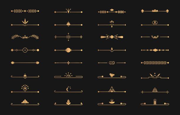 디바이더 골든 라인 세트 아르 데코 벡터 페이지 텍스트 - 모던 양식 stock illustrations
