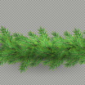 Divider of realistic looking hristmas tree branches effect with shadow isolated on transparent background. EPS 10 vector file