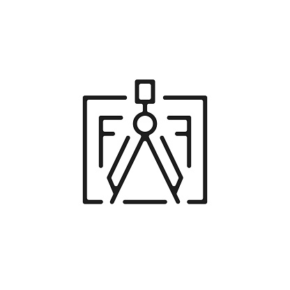 Dividers and blueprint icon. Drawing and plan. Scheme, house project, home plan, engineering, measurement concepts. Vector line icon