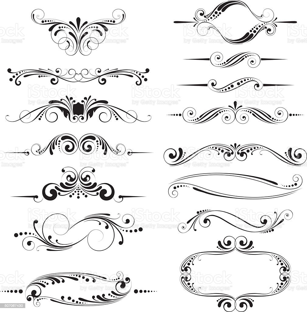 Dividers and borders set design vector art illustration