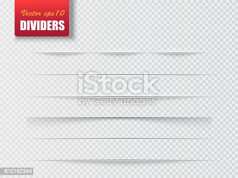 istock Dividers isolated on transparent background. Shadow dividers. Vector 810162344