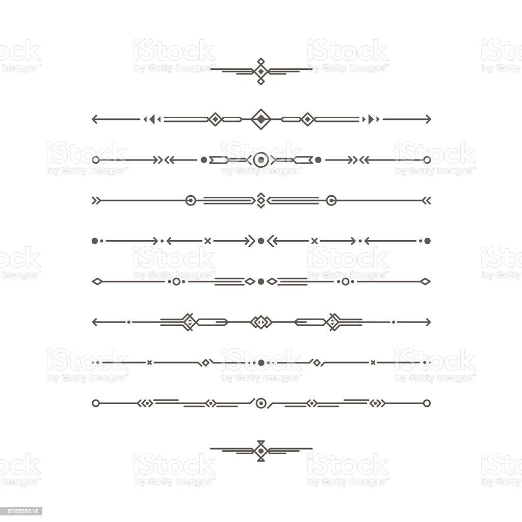 Dividers vector set. Geometric horizontal line border and page rules - Illustration vectorielle