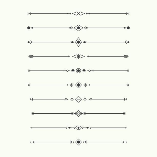 ilustrações de stock, clip art, desenhos animados e ícones de dividers vector set isolated. - compasso