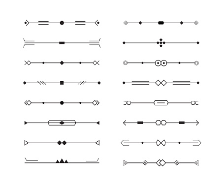 dividers vector set of geometric lines for page decor, art border and frame design, black stripes collection on white background, minimal style.