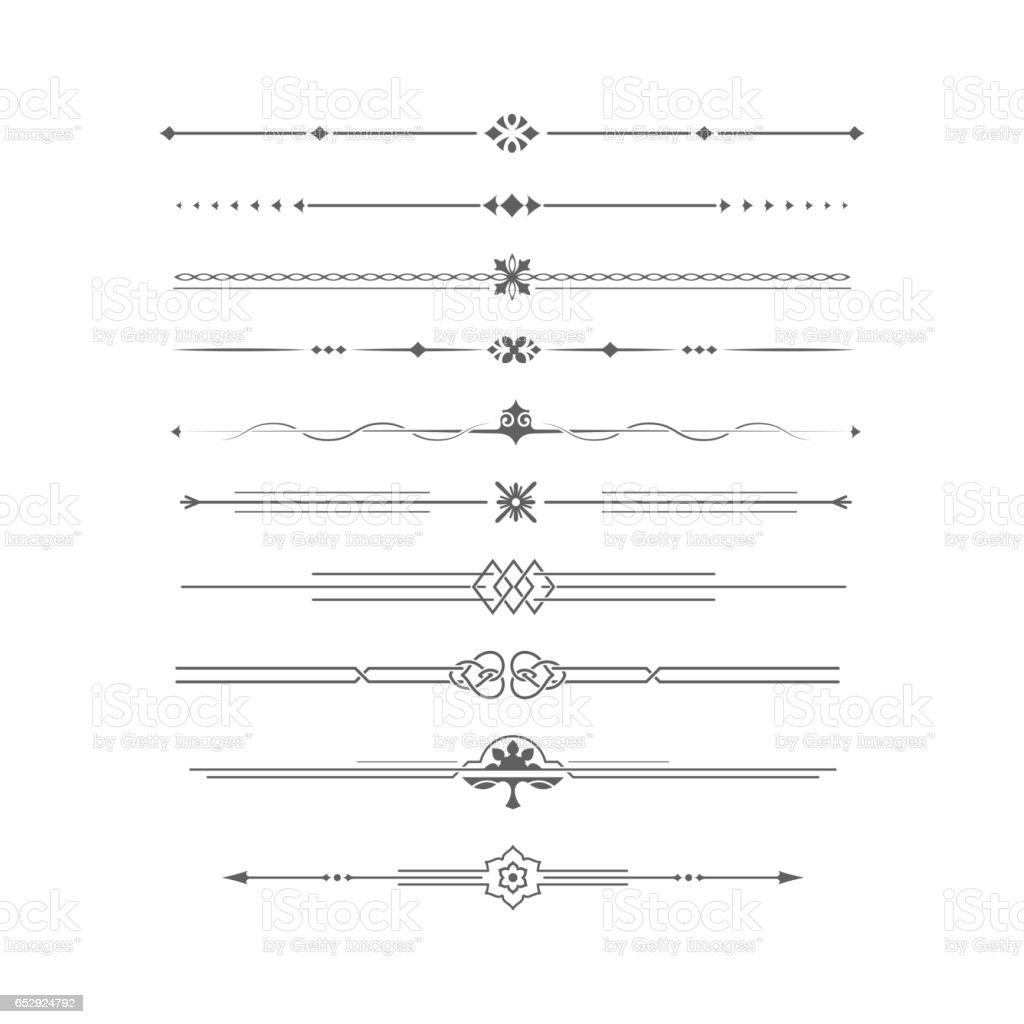 Single Line Font Art : Dividing lines set stock vector art more images of