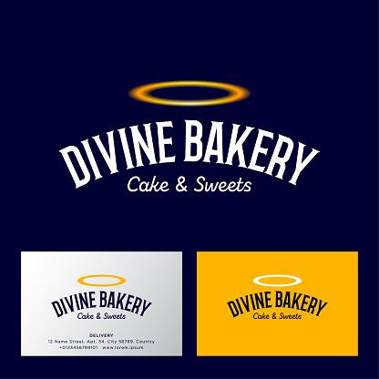 Divine bakery emblem. Letters and golden nimbus.