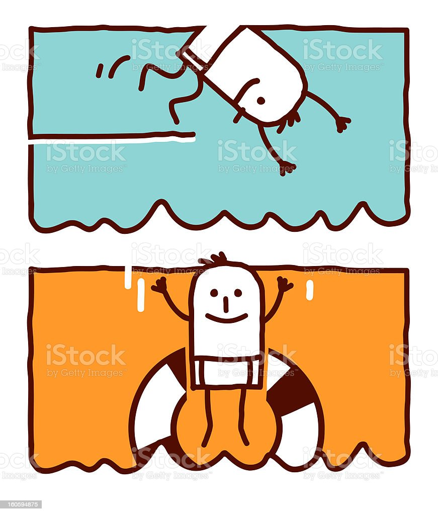 diving & jumping in a buoy royalty-free stock vector art