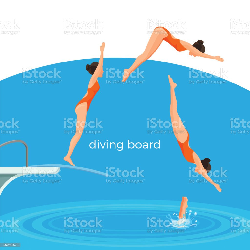 Diving board and female swimmer in swimsuit that jumps vector art illustration