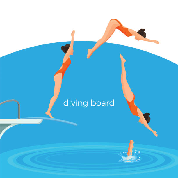 Diving board and female swimmer in swimsuit that jumps Diving board and female swimmer in red swimsuit that dives in from it in deep pool cartoon flat vector illustration. Sportswoman performs jump in water. diving into water stock illustrations