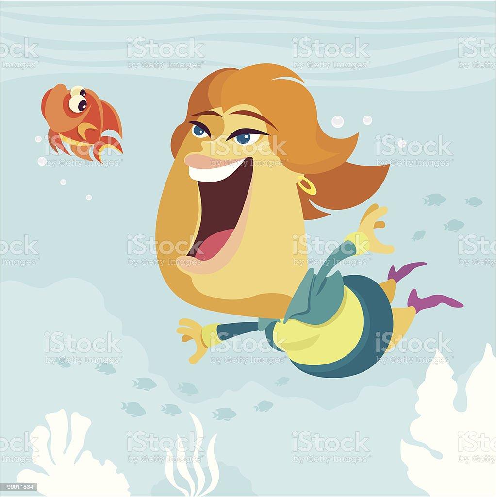 diving businesswoman vector art illustration