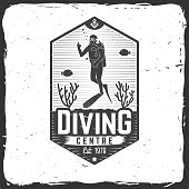 Diving centre. Vector illustration. Concept for shirt or icon, print, stamp or tee. Vintage typography design with diver silhouette.