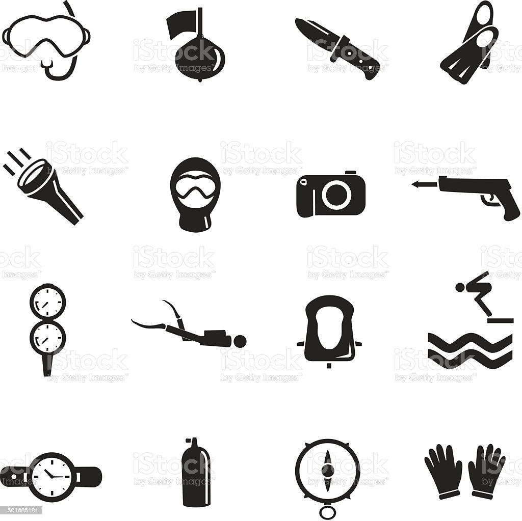 Diving Equipments İcon Set vector art illustration