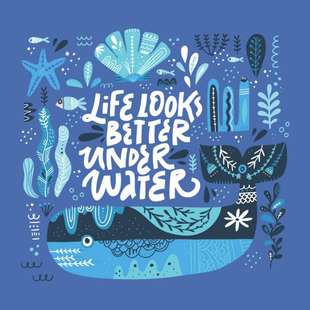 illustrazioni stock, clip art, cartoni animati e icone di tendenza di ventilatori subacquei caratteri stilizzati per la stampa t-shirt - under the sea fish