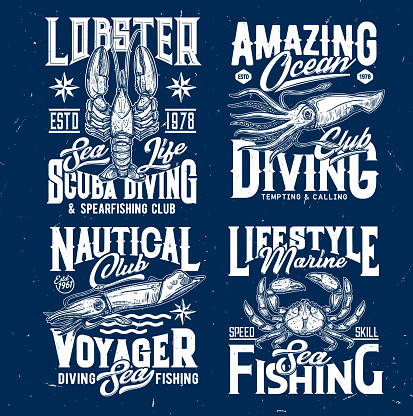 Diving, fishing print with crab, lobster and squid