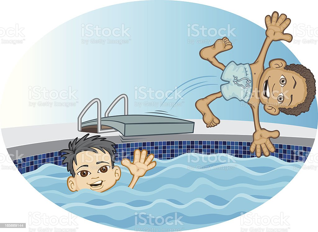 Diving Friends vector art illustration