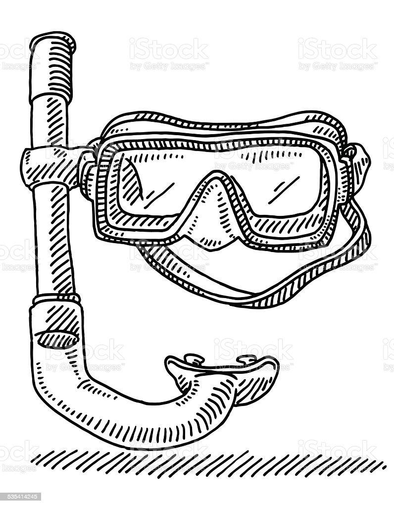 Dessin Lunettes De Plong 233 E Avec Masque Et Tuba Vecteurs