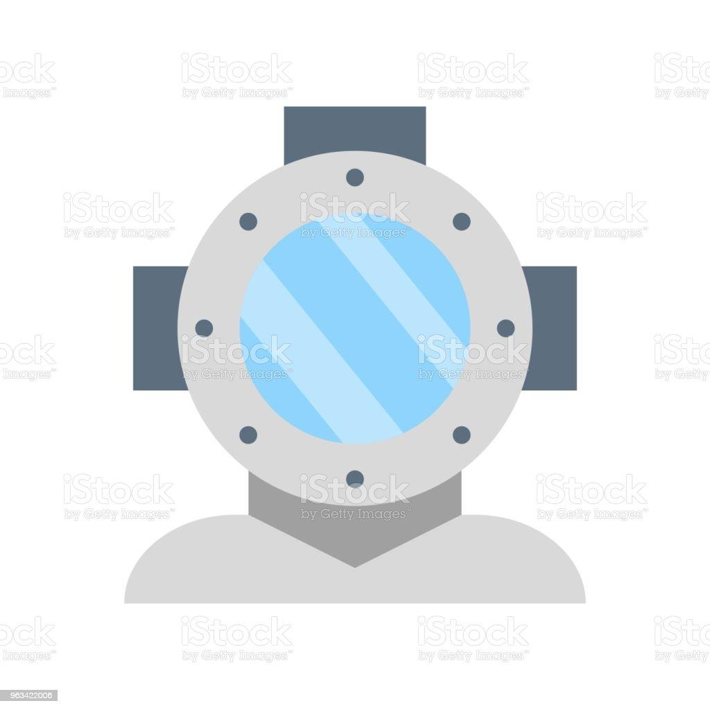 Icône de casque plongée, vector design plat - clipart vectoriel de Carré - Composition libre de droits