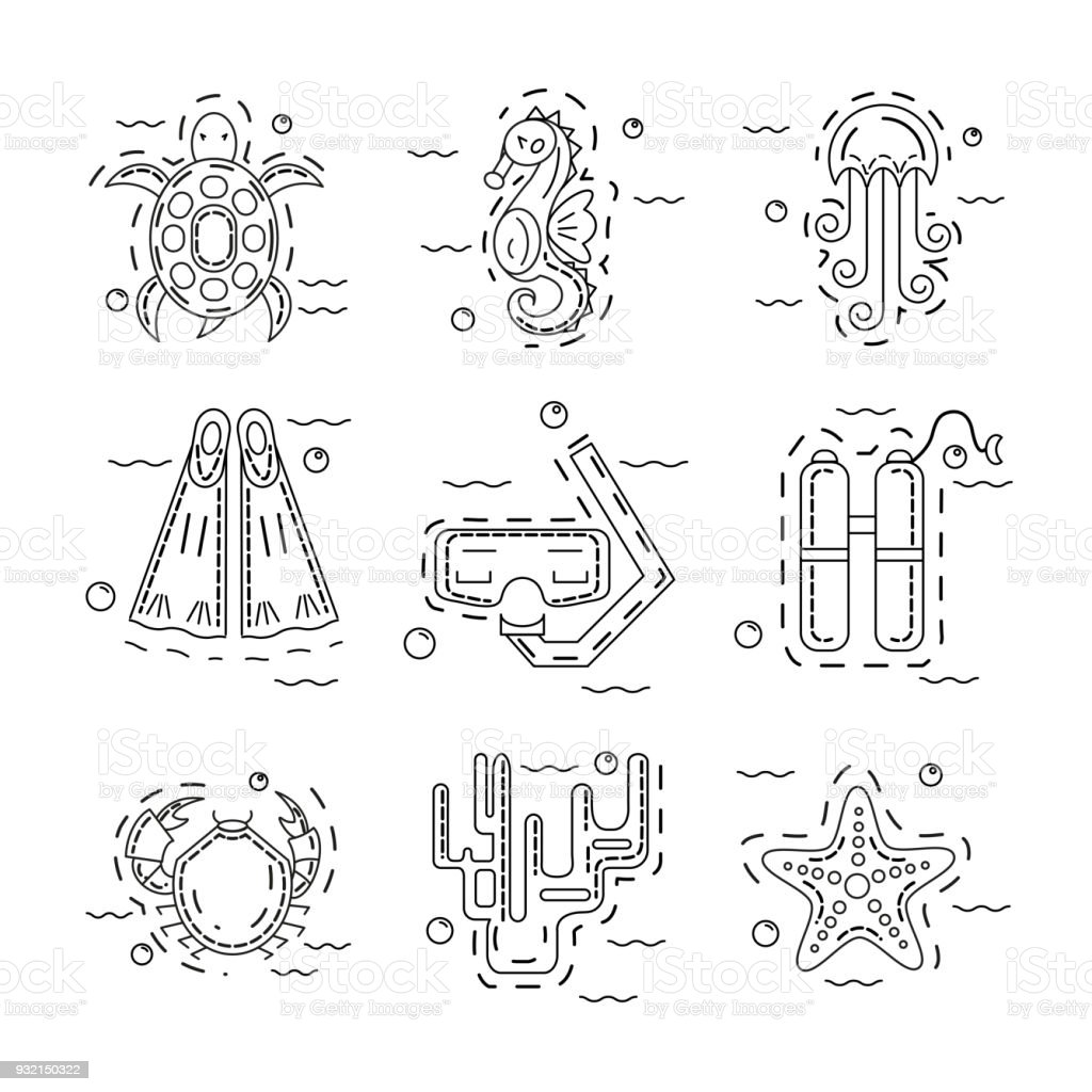 Diving icon elements vector art illustration