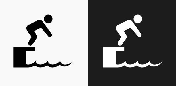 Diving Icon on Black and White Vector Backgrounds Diving Icon on Black and White Vector Backgrounds. This vector illustration includes two variations of the icon one in black on a light background on the left and another version in white on a dark background positioned on the right. The vector icon is simple yet elegant and can be used in a variety of ways including website or mobile application icon. This royalty free image is 100% vector based and all design elements can be scaled to any size. diving into water stock illustrations