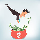 Vector illustration of a smiling businessman diving head on into a pot of money.