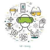 VR Diving - Line Art