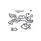 Diving line icon concept. Diving vector linear illustration, symbol, sign