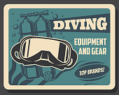 Diving equipment and scuba diver gears retro banner. Vector underwater diving mask and self contained underwater breathing apparatus or aqualung, oxygen bubbles and seaweed