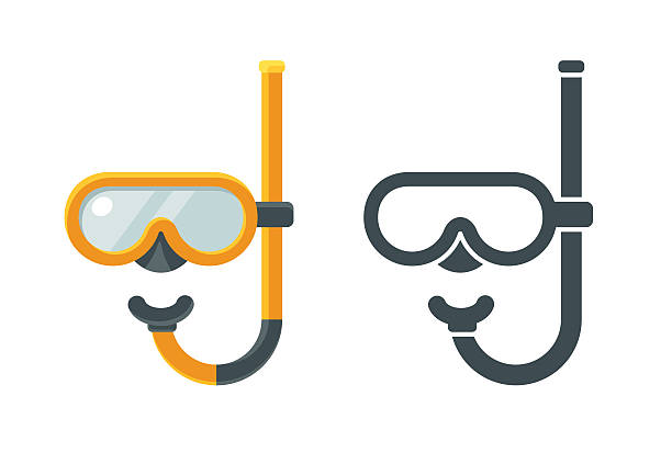 Diving mask icons Two flat icons of giving mask with snorkel, colored and solid. Isolated vector illustration. diving into water stock illustrations