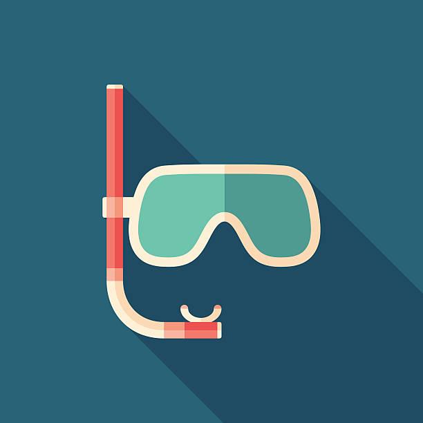 다이빙 ㅁ마스크, 스노클로 잠수하다 평평한 정사각형 아이콘크기 긴 섀도스. - 스노클 stock illustrations
