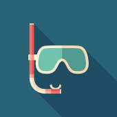 Diving mask with snorkel flat square icon with long shadows.