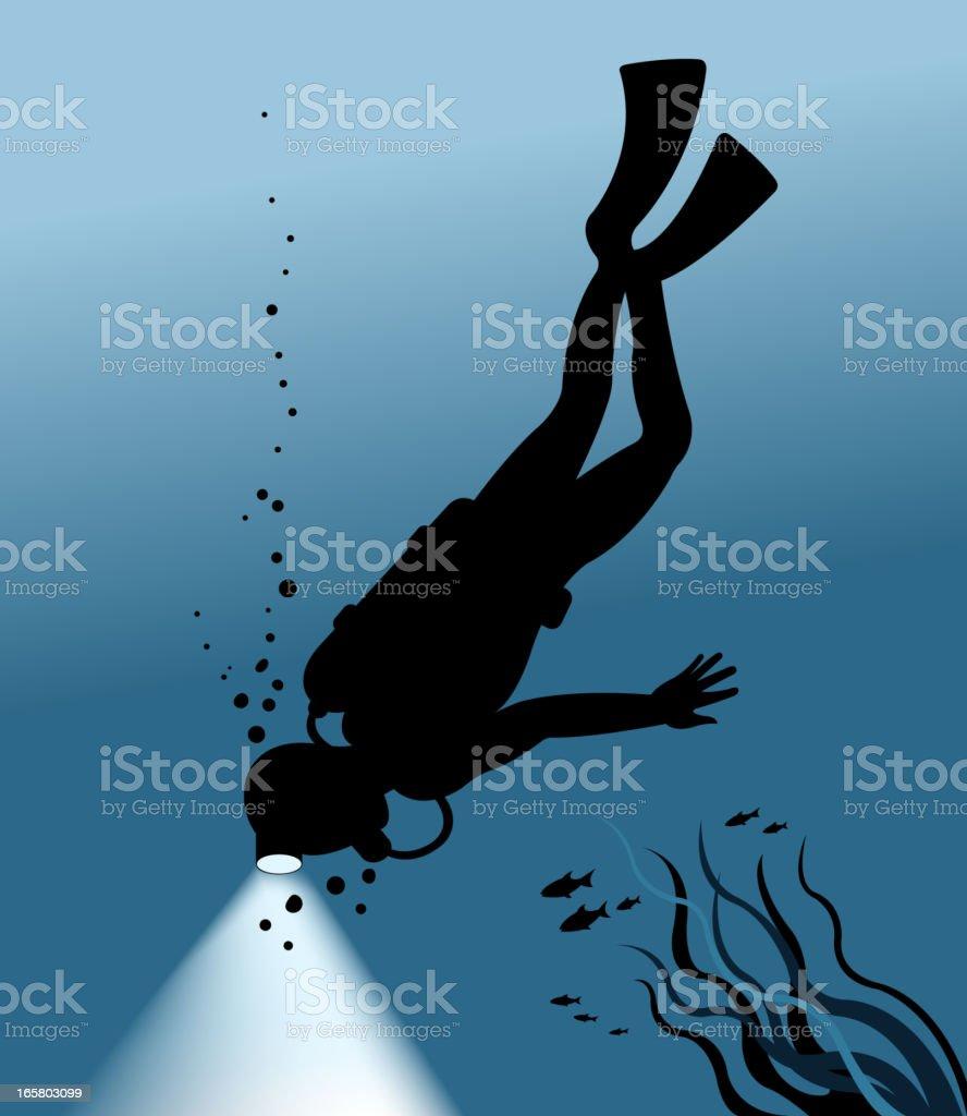 diving silhouette vector art illustration