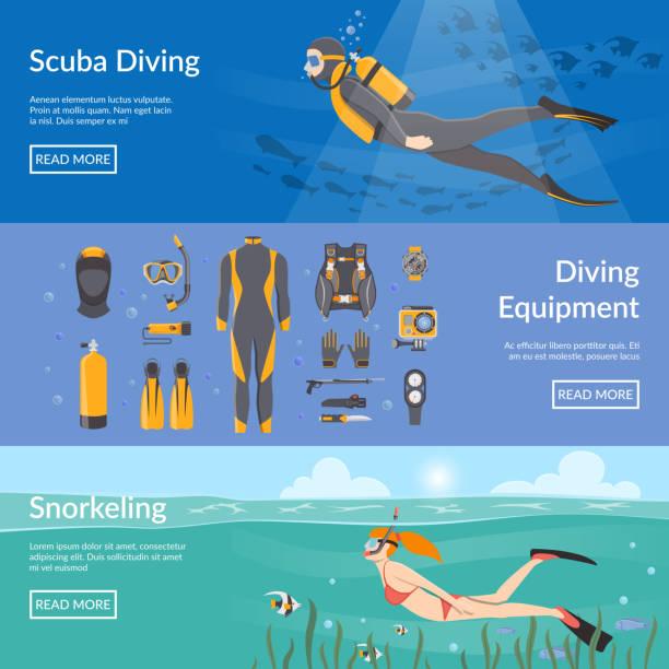 ilustrações de stock, clip art, desenhos animados e ícones de diving snorkeling banners - swim arms