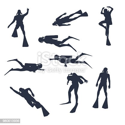 Silhouettes of diver. Set of diver icons. The concept of sport diving.