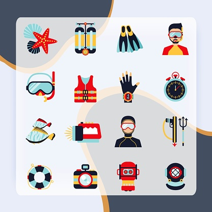 Diving sport icons set with helmet camera lifebelt watch isolated vector
